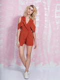 LAVISH ALICE Terracotta Open Sleeve Deep Plunge Tailored Playsuit LAVISH ALICE- Here Now