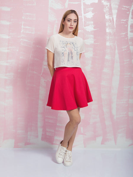 Away on a Summer's day Skirt Coquelicot COQUELICOT- Here Now