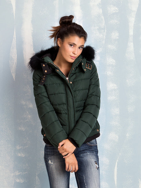 Hooded Jacket Green for women Fracomina- Here Now
