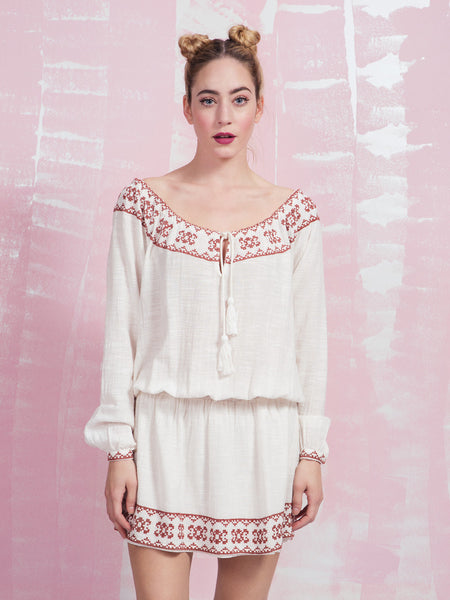 DEBY DEBO Embroidery in cotton dress DEBY DEBO- Here Now