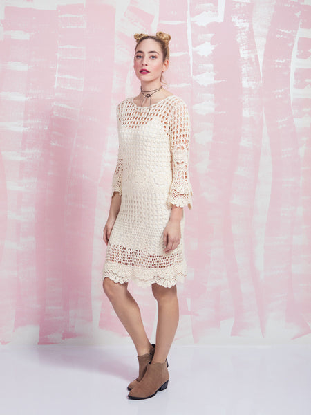 Dress Crochet White Long Sleeve Deby Debo DEBY DEBO- Here Now