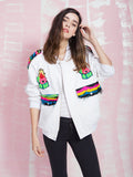 MAID IN LOVE Sailors Beware Oversized Denim Bomber MAID IN LOVE- Here Now
