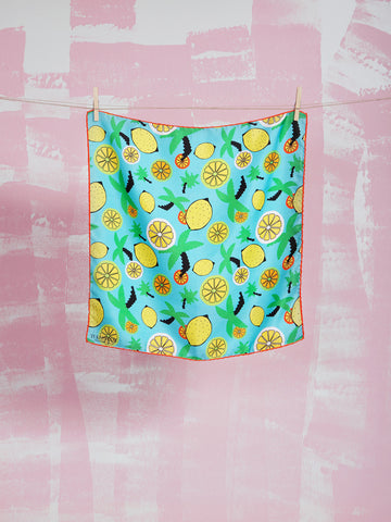 Silk Scarf When life gives you Lemons Bandana TUKUTUKUM TUKUTUKUM- Here Now