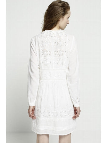 Dress White Embroidery With Long Sleeves With Front Covered Buttons Deby Debo DEBY DEBO- Here Now