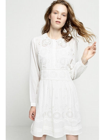 Dress White Embroidery With Long Sleeves With Front Covered Buttons DEBY DEBO- Here Now