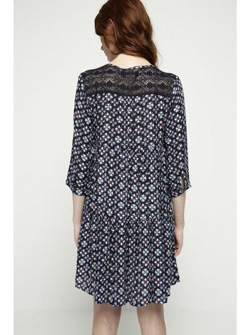 Dress Print Short dress in crepe de viscose printed navy DEBY DEBO- Here Now
