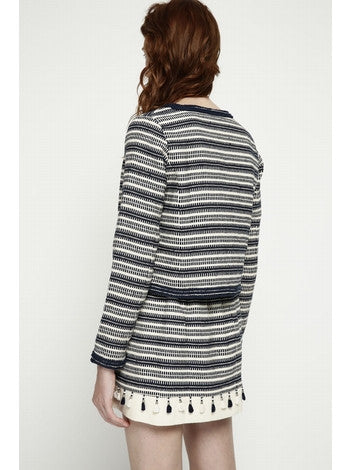 Jacket Pompon in Jacquard Cotton Long Sleeves Pompons Details Two Pockets DEBY DEBO- Here Now