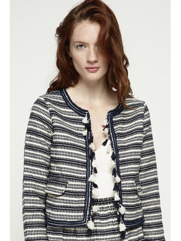Jacket Pompon in Jacquard Cotton Long Sleeves Deby Debo DEBY DEBO- Here Now