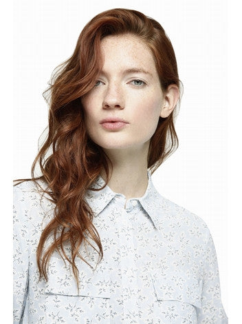 Shirt Women Baby Blue Printed Shirt With Long Sleeves  Frontal Pockets DEBY DEBO- Here Now