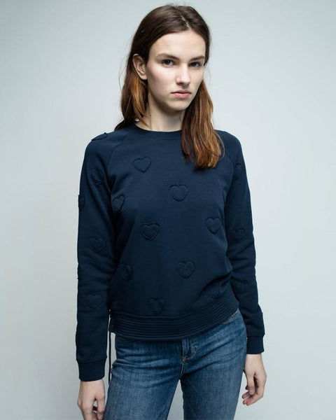 ZOE KARSSEN SALE Sweathirt Heart Patch All Over in Dark Blue Zoe Karssen- Here Now