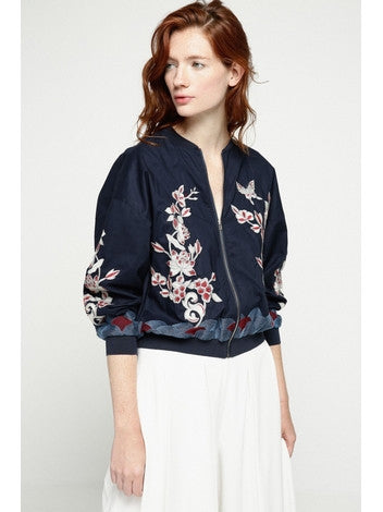 Bomber Jacket Blue With Cotton Embroidery , Long Sleeves, Frontal Zip Deby Debo DEBY DEBO- Here Now