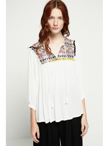 Blouse White Colorful Pompons Deby Debo DEBY DEBO- Here Now