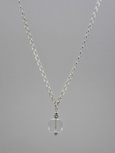 Sterling silver 5 mm round rolo chain with 12 mm crystal cube pendant.