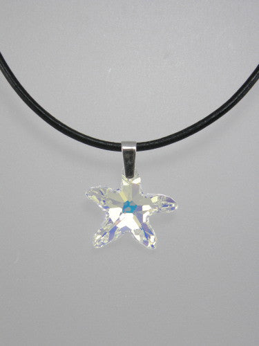 Large crystal starfish measures 28 mm and is available on 16 or 18 inch thick leather cord with sterling silver clasp.