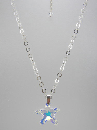 Sterling silver chain with 5 mm flat circle links and 28 mm crystal starfish pendant.