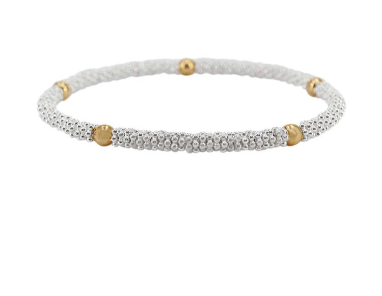 4 mm Gold Ball and Silver Daisies Bracelet