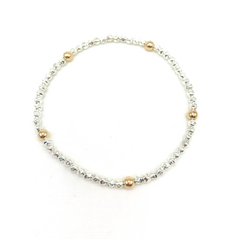 4 mm 14 Kt Gold Filled and Hammered Silver Ball Bracelet
