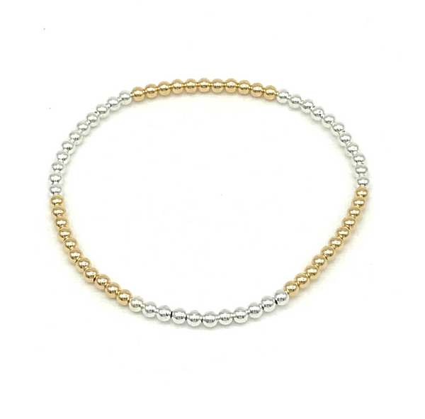 3 mm 14 Kt Gold Filled and Silver Ball Bracelet
