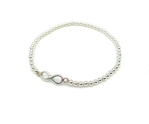 3 mm ball and Infinity Charm bracelet