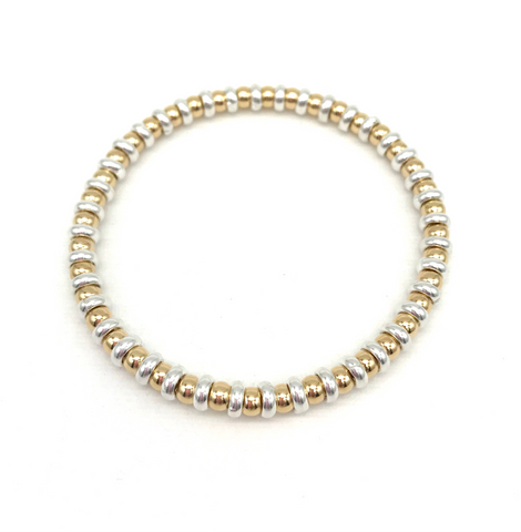 4 mm Gold Ball and Silver Rondel Bead Bracelet