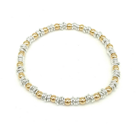 4 mm Gold Ball and Silver Links Bracelet