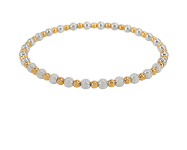 3 mm Gold Ball and 5 mm Silver Ball Bracelet