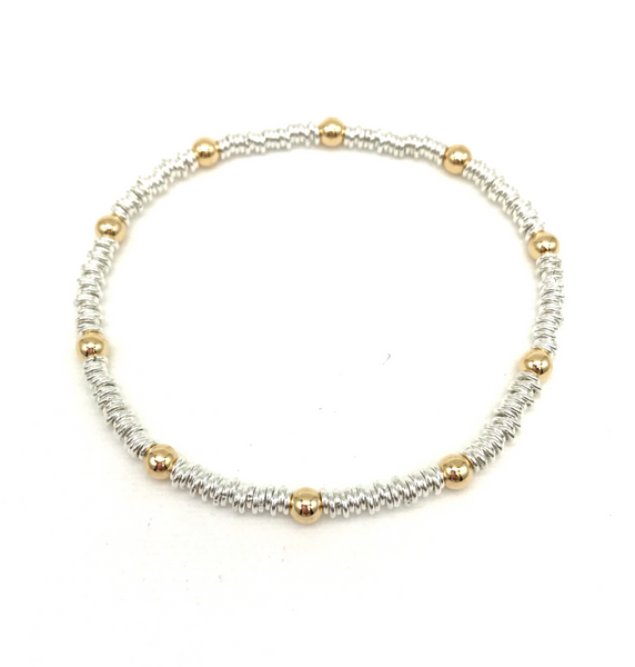 4 mm Gold Ball and Small Silver Links Bracelet