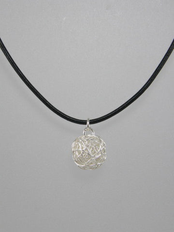Medium sterling silver yarn ball measures 15 mm and is available on 16, 18 or 20 inch thick ball chain or 16 or 18 inch thick leather cord, with sterling silver clasp.