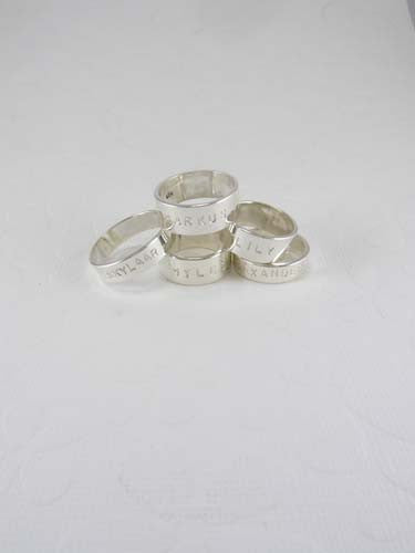 Personalized Hand-stamped Silver Rings