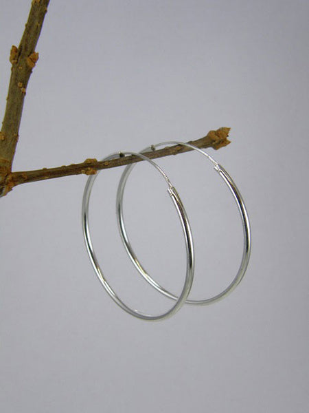 40mm Silver Hoop Earrings