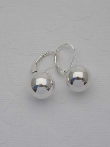 Silver Ball Levered Hook Earrings - 12mm