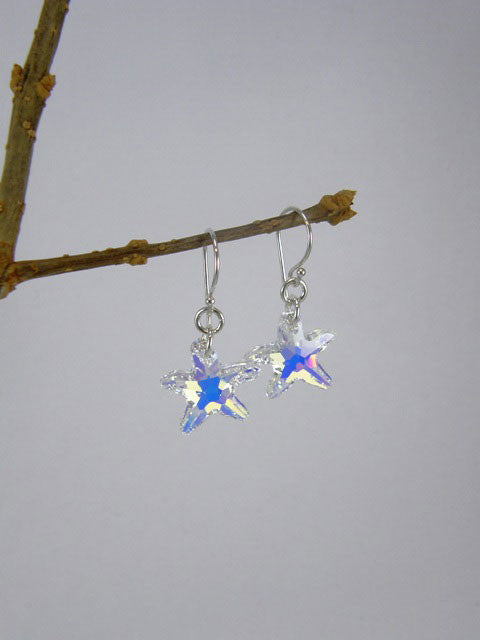 14 mm Swarovski crystal starfish on a sterling silver hook.