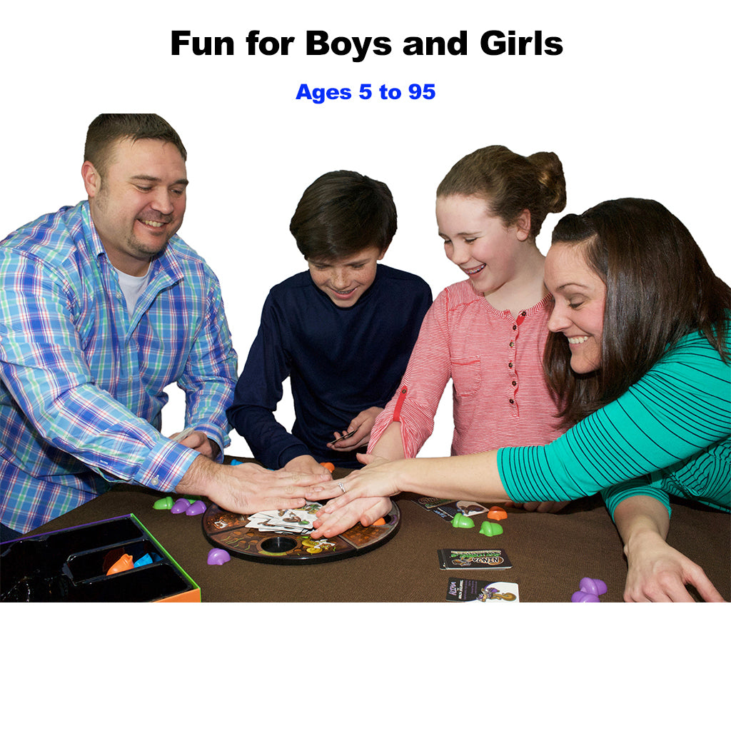 Parents and Kids Playing Ninja Squirrels Board Game