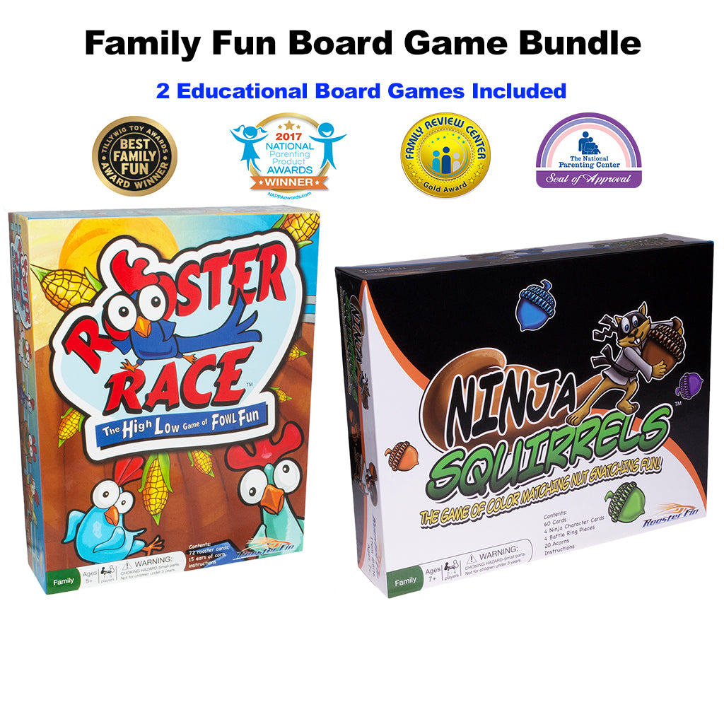 Family Fun Board Games Rooster Race and Ninja Squirrels