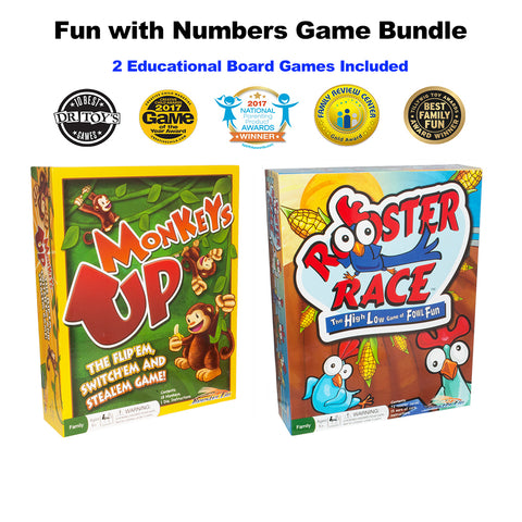 Number Fun Monkeys Up and Rooster Race Board Games