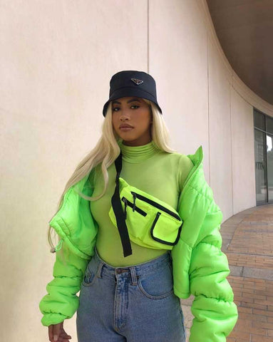 Streetwear Outfit with Neon Jacket and Mom Jeans