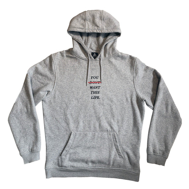 Limited Edition Grey Redline Hoodie - You Dont Want This Life - UK Streetwear Brand - Streetwear Hoodies, High Street Fashion for Your London Streetwear Clothing Style