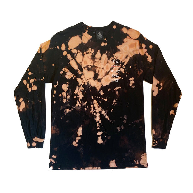 Best Life Bleach Dye Long Tee - You Dont Want This Life - UK Streetwear Brand - Streetwear Hoodies, High Street Fashion for Your London Streetwear Clothing Style