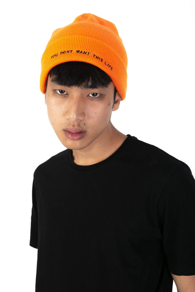 Orange Nova Beanie - You Dont Want This Life - UK Streetwear Brand - Streetwear Hoodies, High Street Fashion for Your London Streetwear Clothing Style