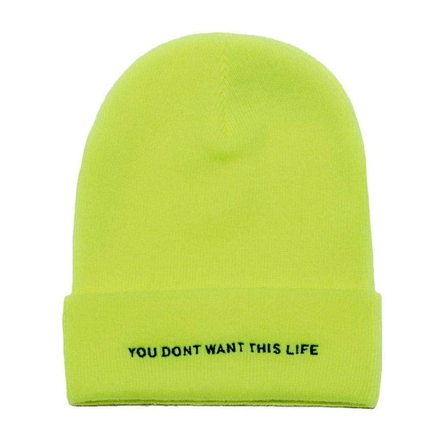 Safety Yellow Beanie - You Dont Want This Life - UK Streetwear Brand - Streetwear Hoodies, High Street Fashion for Your London Streetwear Clothing Style