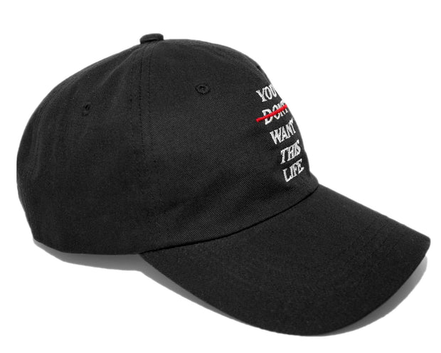 Redline Dad Hat (Black) - You Dont Want This Life - UK Streetwear Brand - Streetwear Hoodies, High Street Fashion for Your London Streetwear Clothing Style
