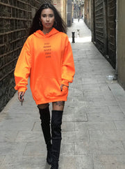 Woman's Limited Edition Safety Orange Life Hoodie - You Dont Want This Life - UK Streetwear Brand - Streetwear Hoodies, High Street Fashion for Your London Streetwear Clothing Style