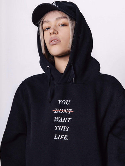 Women's Redline Hoodie - You Dont Want This Life - UK Streetwear Brand - Streetwear Hoodies, High Street Fashion for Your London Streetwear Clothing Style
