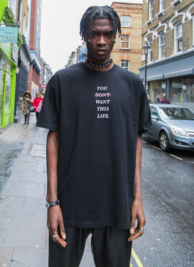 Black Redline Oversized T-Shirt - You Dont Want This Life - UK Streetwear Brand - Streetwear Hoodies, High Street Fashion for Your London Streetwear Clothing Style