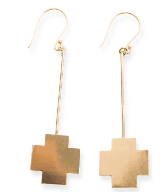 Ink + Alloy - Brass Small Cross Stick Earring
