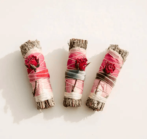 Blue Sage + Roses Smudge Stick