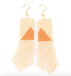 Load image into Gallery viewer, Ink + Alloy - Triangle Seed Bead Earrings - Asymmetrical