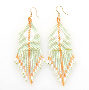 Load image into Gallery viewer, Ink + Alloy - Diamond Stripe Fringe Seed Bead Earrings - Mint/White/Coral