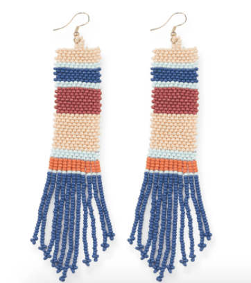 Ink + Alloy - Stripe Seed Bead Earrings - Blue/Pink/Terra Cotta