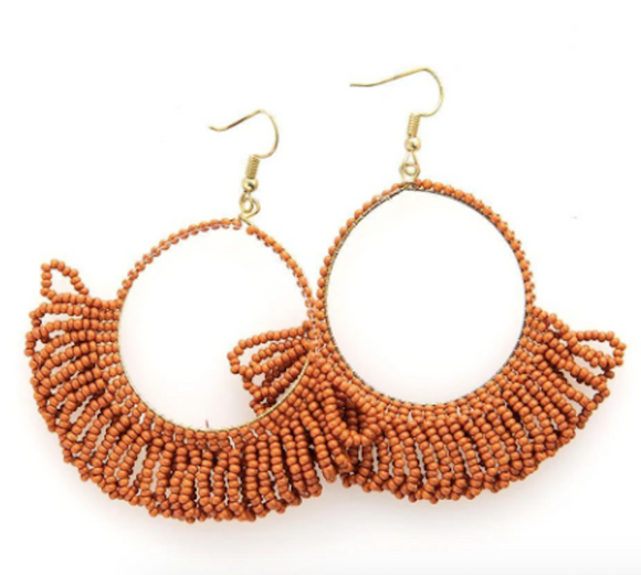 Ink + Alloy - Fringe Hoop Earring - Rust